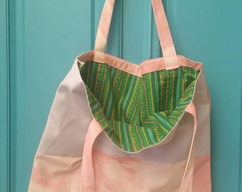 Hand made upcycled lined tote bag