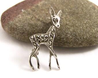Vintage Silver Deer Pin, Deer Brooch, Reindeer Brooch, Bambi Brooch, Deer Brooch, Marcasite Brooch, Silver Marcasite Pin