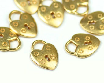 """Small Vermeil Heart Lock Charm, 24K Gold Plated Sterling Silver, 3/8"""" x 9/16"""", Choose Quantity, V-83H"""