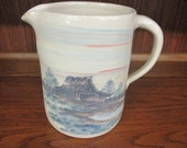 Paul Storie Pottery Marshall Texas Barn Scene Pitcher Made in USA