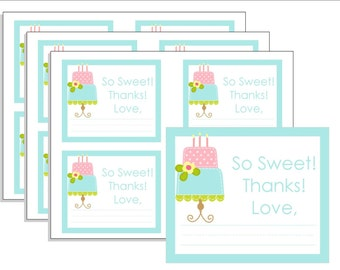 Printable Cake Party Favor Tags, Cake Printable Favor Tags, Instant Download, Cute Girl Party Favor Tag, Blue and Pink Goody Bag Labels