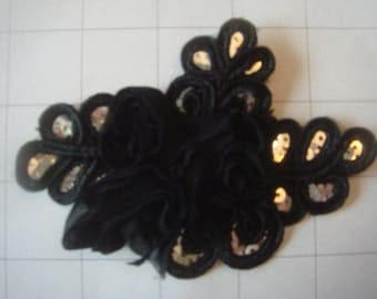 """Black Flower and Sequins Braided Applique 4 1/2"""" by 3 1/4"""""""