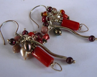 Earrings - Sterling Silver- Beaded - Dangling/Drop - Carnelian - Gemstones - Cluster