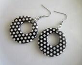 Round polka dot earrings, polka dot dangle, white polka dot earring, round earring, round dangle, black earring, nickel free earring, steel