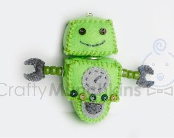 Cute Green Plush Felt Robot