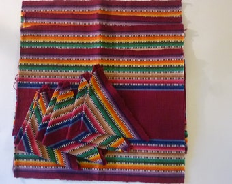 Vintage Placemats and Napkins Purple Striped 100% Cotton Boho Style  Made in Guatemala 80's