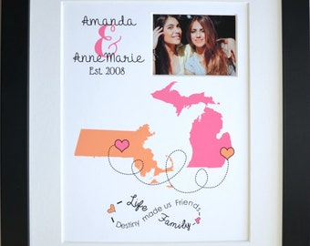Custom best friend gift, going away gift, popular friend gifts, personalized map, home art decor, long distance maps, friendship quote