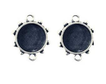 Ranger - ICE Resin - Mixed Metal Bezels - Hobnail Circle - Small - Antique Silver - 2 Bezels