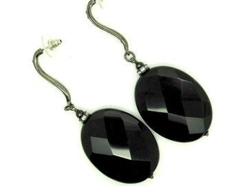 Long dangle black earrings for the evening