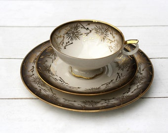 Vintage German Tea Cup and Saucer Trio Set- Coffee Gold Abstract Border