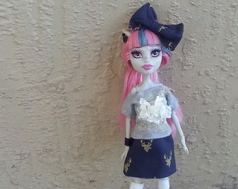 Monster Doll T-Shirt and Skirt Set with Hair Bow Nautical Outfit Navy Gray & Gold