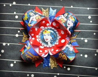 Wonder Woman stacked layered hair bow