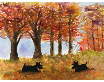 Scottie Dogs 'Autumn Scotties' Art Print 8 X 6 Inches #27