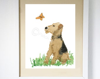 Airedale Terrier Dog & Butterfly Art Print #102