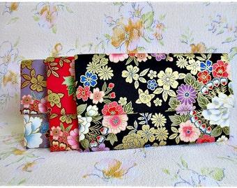Large envelope clutch japanese kimono fabric gold black red purple evening purse