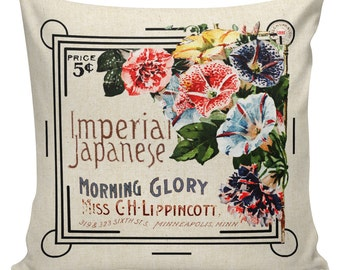 Spring Pillows, Botanical Pillows, Seed Packet, Flowers, Floral, Cushion Covers, Throw Pillows, Made in USA, Cotton, Burlap,   #EHD0166