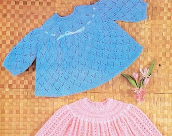 baby  knitting pattern   baby dresses / angel top  18/19inch chest   4ply  instand download
