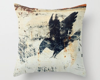 Black Bird, Crow, Raven,  Home Decor, Throw Pillow Case, Photography by RDelean