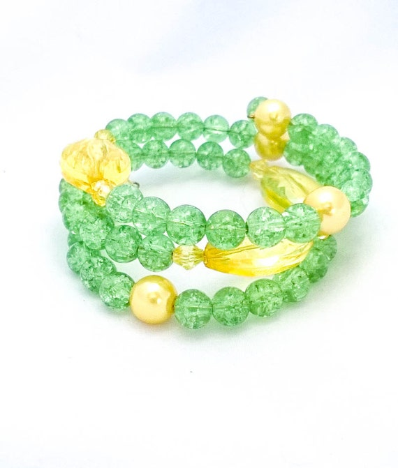 Green crackle glass and yellow beaded Wrap bracelet