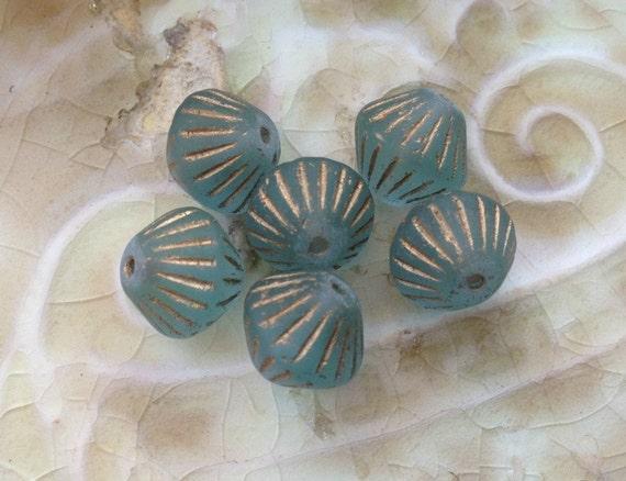 Czech Glass Bicone Beads - Sea Glass Light Blue with Gold Detail - Frosty Aqua - 10mm x 11mm -  Qty 6