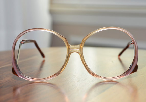 vintage pink art craft oversized drop arm eyeglasses usa 58 17