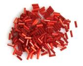 Deep Red Satin Glass 6mm Bugle Beads Czech Glass Geometric Minimalist Art Deco Style 10 Grams