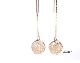 Long Druzy Dangle Earrings / Bridal Jewelry / Rose Gold Earrings / Modern Bride / Blush Champagne Druzy Dangle Earrings / Bridesmaid Gift