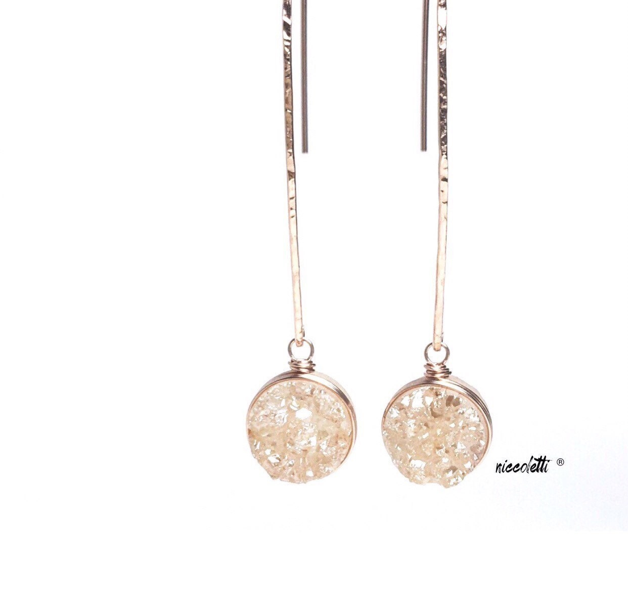 Long Druzy Dangle Earrings / Bridal Jewelry / Rose Gold Earrings / Modern Bride / Blush Champagne Druzy Dangle Earrings / Bridesmaid Gift