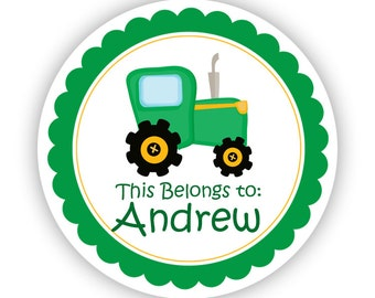 Name Tag Stickers - Green Yellow Farm Tractor Personalized Name Label Stickers - This Belongs To Labels - Perfect for Back to School Labels