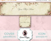 75% OFF SALE Shop Cover Photo - Etsy Shop Cover - Shop Icon Photo - Set 01 Roses Cherry Blossom - Premade Beige Cover Photo - Instant Downlo