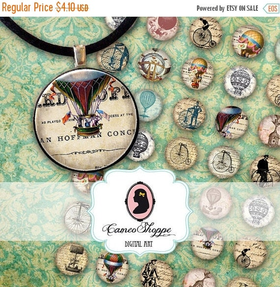 75% OFF SALE 1 inch Circles Digital Collage Sheet VINTAGE Balloons Bicycles Printable download Digital pendants magnets