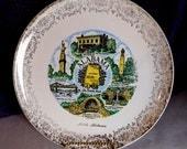 Alabama  - Souvenir Plate -  Circa 1950s Ornate Gold Trim Historic Plate