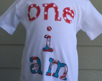 Dr. Seuss birthday shirt. Cat in the Hat birthday. Dr. Seuss birthday. Cat birthday. One i am