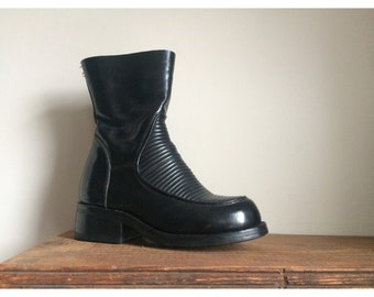 Black leather cyber boot, Muro, Italian made