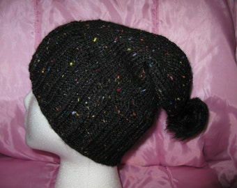 Knit wool slouchy beanie - black and speckled
