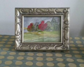 Original Miniature Landscape Painting Watercolor The Red Tree Pen and Ink ACEO Original Art by Kathleen Daughan Western Avenue Artist