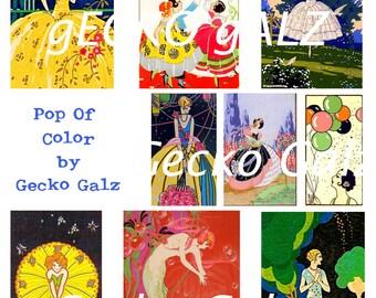 Pop Of Color Digital Collage Sheet