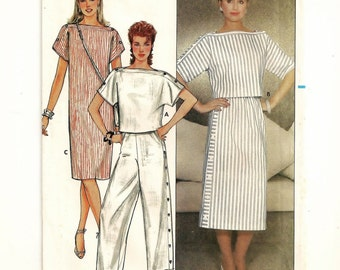 A Kimono Sleeve, Straight Dress, Straight Side Button Skirt, Crop Top and Wide Leg Pants Pattern for Women: Sizes 6 & 8 • Butterick 4937