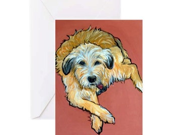 Labradoodle Dog - 4 Greeting Cards By Artist A.V.Apostle