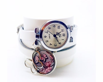 multi link leather watch with cabochon