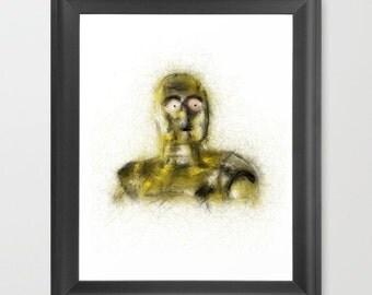 C3PO - INSTANT DOWNLOAD - Star Wars, droid, episode, art, digital, the force, children's, nerd art, geeky, decor, fan work