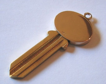 """14K Yellow Gold & Brass, """"House Key"""" Pendent or Charm...UNCUT !"""