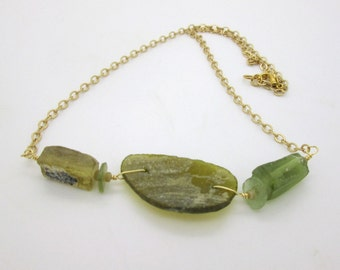 Green Glass Statement Necklace, Ancient Roman Glass Jewelry
