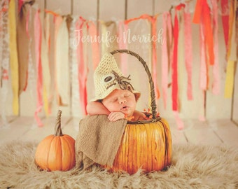 Crochet Scarecrow Hat-Fall Hat-Photo Prop-Newborn to 0-3 Months
