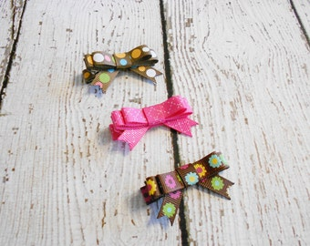 Hair Clip Set of 3- Pink and Brown