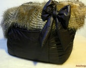 OOAK Light Brown Feathers Faux Fur Dog Carrier Bag Faux Fur and Waterproof Dark Chocolate Italian Fabric