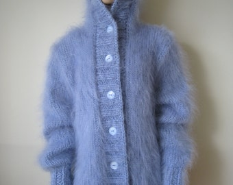 Made to Order !  New Hand Knitted Mohair Extra Thick Sweater Cardigan size XL Light Blue