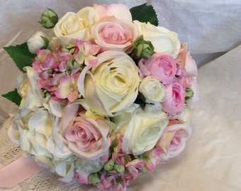 Artificial Silk Country Style Pinks Creams Wedding Bouquet