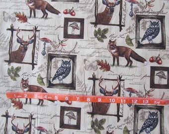Brown Woodland Fox/Deer/Owl Cotton Fabric by the Yard