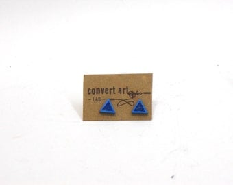 Blue marine earrings, wooden triangle earrings, upcycled wood
